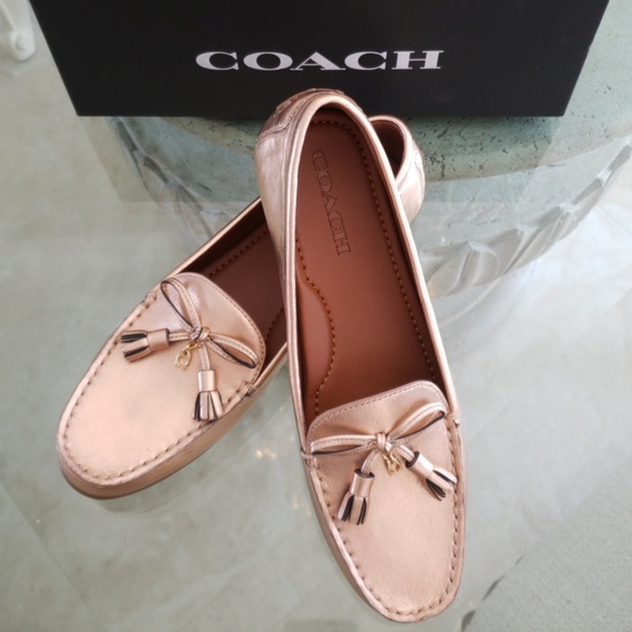 a3a29f7f56a Coach Greenwich Driver Loafers Rose Gold Leather 8